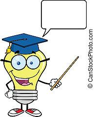 prof, ampoule, lumière