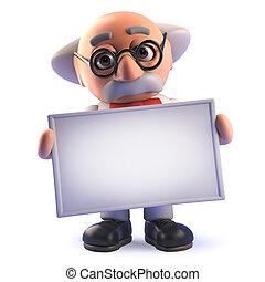 prof, caractère, scientifique, fou, tenue, vide, bannière, dessin animé, 3d