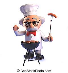 prof, cuisine, scientifique, fou, barbecue, 3d