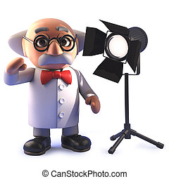 prof, dessin animé, scientifique, studio, fou, projecteur, 3d