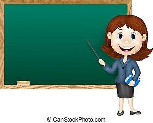 prof, femme, debout, dessin animé, nex