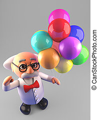 prof, illustration, célébrer, scientifique, fou, fête, ballons, 3d