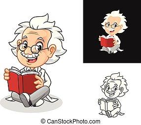 prof, livre, verres lecture
