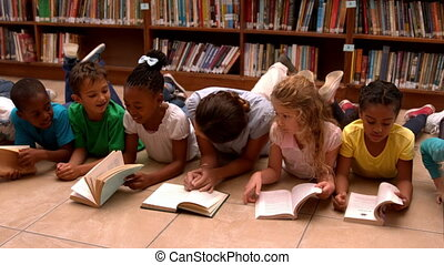 prof, livres, élèves, lecture