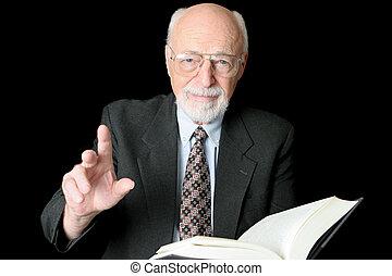 prof, ou, prédicateur, horizontal