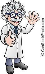 prof, scientifique, caractère, dessin animé