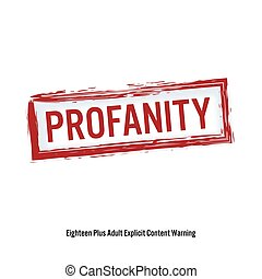 profanity., 빨강, 중지, 서명해라., 나이, 제한, stamp., 내용, 치고는, 성인, only., 고립된, 백색 위에서, 배경., 벡터, 삽화