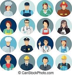 profesión, avatar, plano, icono