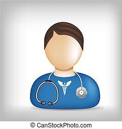profesión, médico, -, icono