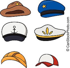 profesion, sombrero, colección
