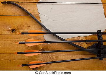 profesional, arco, con, un, conjunto, de, flechas