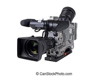 profesional, blanco, cámara, vídeo, aislado
