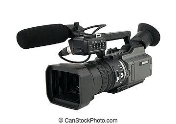 profesional, cámara, vídeo, aislado, blanco
