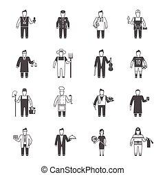 profesional, carácter, icono