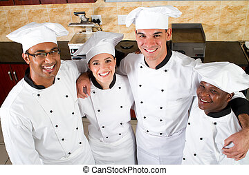 profesional, chefs, grupo