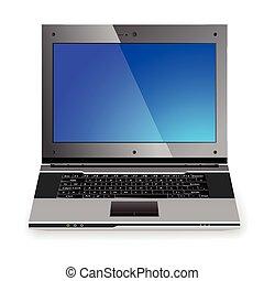 profesional, computador portatil, icono, elegante