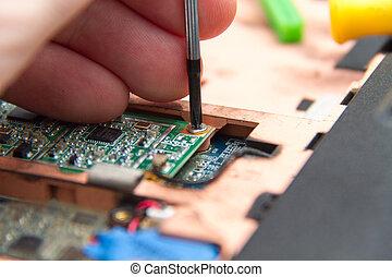 profesional, computador portatil, reparación