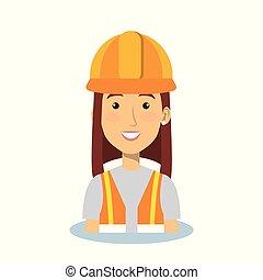 profesional, construcción, mujer, carácter