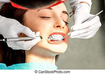 profesional, dientes limpiar