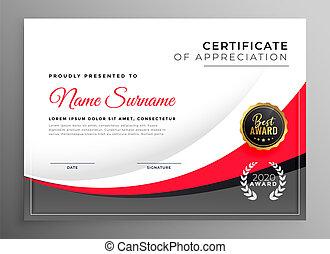 profesional, diseño, éxito, certificado, plantilla
