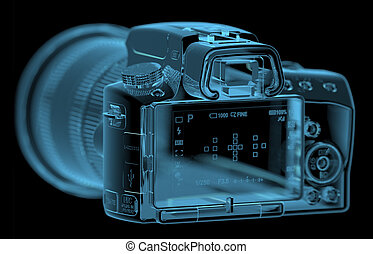 Profesional DSLR camera (3D xray blue transparent)