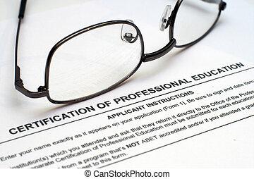 profesional, educación, forma