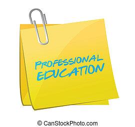 profesional, educación, poste, mensaje