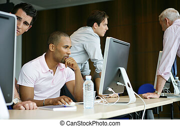 profesional, entrenamiento, hombres de negocios