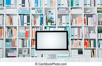 profesional, espacio de trabajo, con, computadora, y, estantes