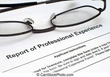 profesional, experiencia, forma