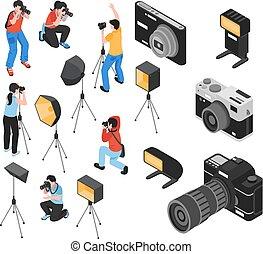 profesional, fotógrafo, isométrico, conjunto