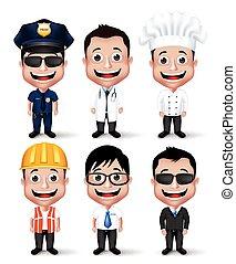 profesional, hombre, caracteres, conjunto
