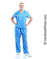 profesional, médico, mujer, doctor.