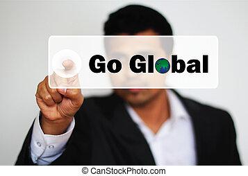 profesional masculino, escoger, ir, global, por, hacer clic,...