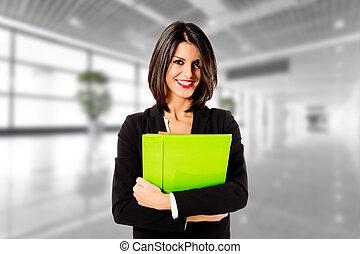 profesional, mujer de negocios, en, ella