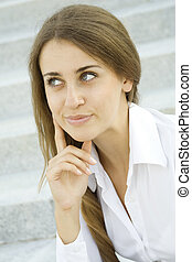 profesional, mujer de negocios, sonriente