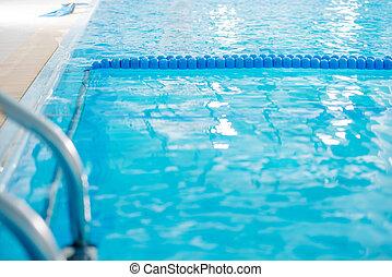 profesional, piscina, no, natación, arriba., cierre, gente