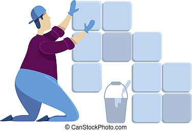 profesional, plano, aislado, handyworker., renovation., reparaciones, character., caricatura, lechada, instalación, tiler, cerámico, casa, vector, faceless, ilustración, hombre, mortar., color de casa, tipo, tiles.