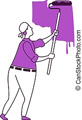 profesional, plano, aislado, illustration., estilo, 2d, pintor, roller., reparaciones, silueta, dibujo, carácter, contorno, handyworker, simple, blanco, vector, hogar, fondo., pared, pintura