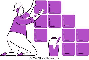 profesional, plano, uniform., aislado, illustration., estilo, 2d, azulejos, work., colocar, peón, reparaciones, silueta, dibujo, carácter, factótum, contorno, handyworker, simple, blanco, vector, hogar, fondo.