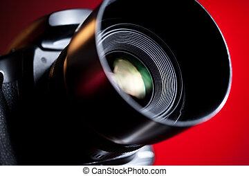profesional, primer plano, cámara, dslr