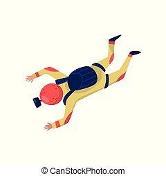 profesional, skydiver, en, freefall., hombre, o, mujer, con, paracaídas, paquete, y, casco, con, acción, cámara., extremo, hobby., plano, vector, diseño