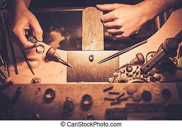 profesional, tools., joyería, arte, elaboración, escritorio