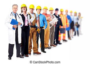profesional, trabajadores, group.