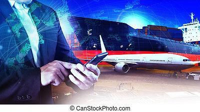 profesional, trabajando, hombre, en aire, carga, logístico, y, industrias, transporte, empresa / negocio
