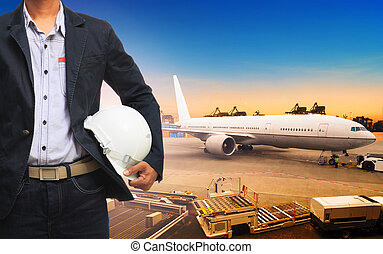 profesional working man in freight ,cargo air shipping and import export transport logistic industry