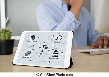 profesionales, concepto, trabajando, reglas, conformidad,...
