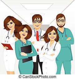 profesionales, médico, grupo, equipo