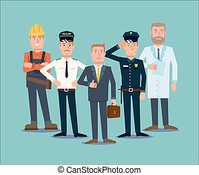 profesiones, gente, set., plano, vector