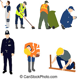 profesiones, -, hombres en el trabajo, conjunto, 01